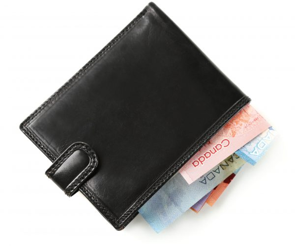 Male,Wallet,With,Canadian,Dollars,,Isolated,On,White